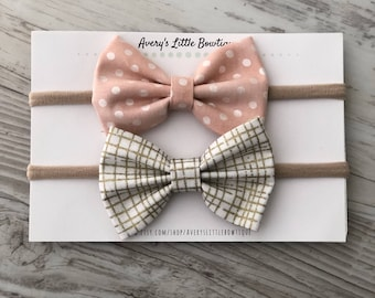 Newborn baby bow set- hairbows for babies - new baby gift - baby girl - set of two bows
