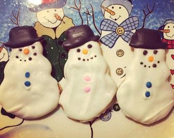 Snowmen Dog Treats - Peanut Butter Dog Treats - 3 Cookies  - Crunchy All Natural Dog Treats - snowman - Holiday