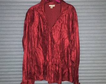 Coldwater Creek red pleated shirt