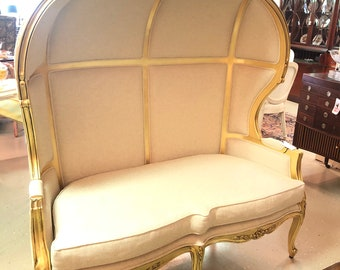 French Hooded Settee, Porter  Style, Loveseat, Canopy, Double Throne, Photo Prop