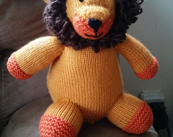 Knitted stuffed lion