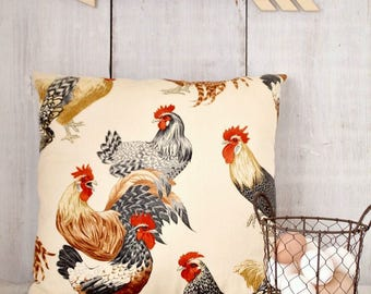 Country Farmhouse Pillow / Chicken Decor / Rooster Pillow / French Country Pillow / Chicken Pillow Cover / Hens and Roosters