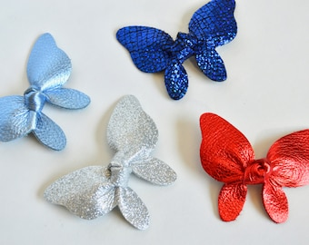 4th of July Hair Clip: Leather  Butterfly Bow // Leather Knotted Hair Bows  //  Butterfly Knotted Bow Hair Clip // Leafy Treetop Leather