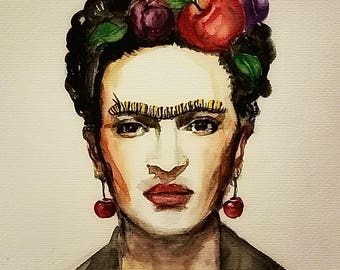 Frida Kahlo original abstract surrealism print, original concept wall art portrait