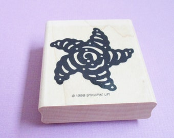 Starfish Papercraft Rubber Stamp Large Wood Mounted Art and Craft Supplies Scrapbooking Stamping Cardmaking Planner Beach Party Invitation