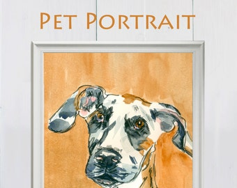 Custom pet portrait, Watercolour Pet Portrait, Email gift voucher, last minute gift, Pet Portait Gift, Gift For Her, Gift For Him