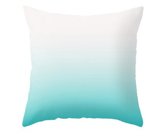 Turquoise ombre pillow Teal throw pillow teal ombre teal gradient turquoise ombre cushion turquoise pillow turquoise cushion ombre