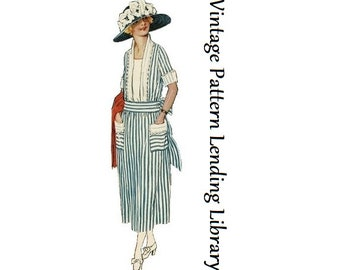 1921 Ladies Dress With Sash - Reproduction Sewing Pattern #Z3074
