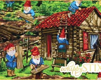 "LAST ONE! Rare! Gnome Fabric 28"" Remnant, Handy Gnomes by Michael Miller Fabrics DC4245, Whimsical Woodworking Gnome Cotton Scrap Material"