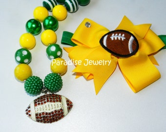 Oregon Ducks Football Bubble Gum Necklace Set Green and Yellow Football Bow Headband Girls Football Team Accessories Football Necklace