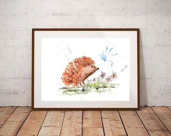 Hedgehog giclee PRINT, British wildlife, watercolour painting, hedgehog gift, watercolour animal print, home decor, hedgehog