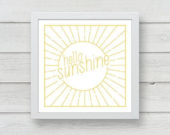 Hello Sunshine Letterpress Print