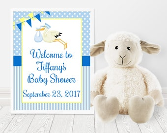 Stork Baby Shower, Baby Shower Welcome Sign, Stork Baby Shower Welcome Sign, Welcome Door Sign, Blue Yellow, Boy Baby Shower,Printable