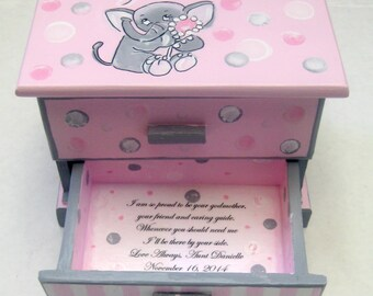 little girls,personalized,jewelry box,elephants,polka dots,stripes,pink,grey,Goddaughter gift,granddaughter gift,personalized girl gift,