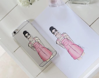 Soft Phone case Iphone 6 with illustration of pink girl