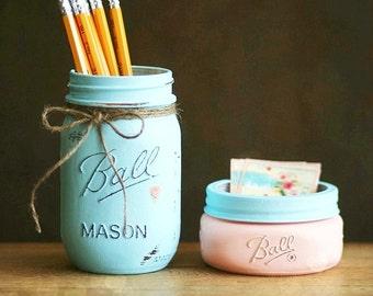 Business Card Holder - Office Decor - Mason jar - Pencil Jar - Pencil Holder - Shabby Chic Decor - Cottage Decor - Teacher Gift