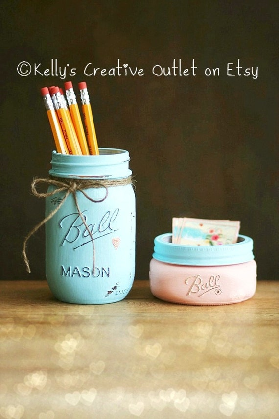 Business Card Holder Office Decor Mason jar Pencil Jar