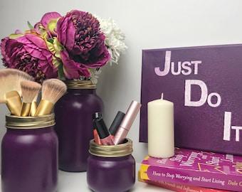 Purple Mason Jar - Purple Flower Vase - Makeup Brush Holder - Makeup Storage - Pen Holder - Gold and purple - Copper - Rose Gold