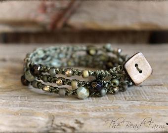 Beaded Crochet Bracelet, Beaded Crochet Jewelry, Handmade Bracelet, Boho Jewelry, Crochet Beaded Bracelet, Crocheted Jewelry