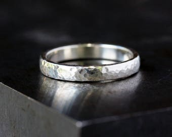 Men's Wedding Band, Hammered Sterling Silver, Bright Finish, Wedding Ring for Him, Man's Ring, Recycled Metal, Handmade Jewelry
