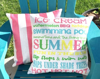 Summer Words-Pillow Cover