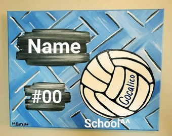 Volleyball Team Spirit Jersey number school canvas painting
