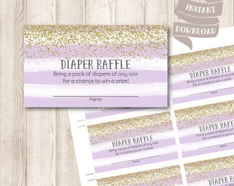 Purple and Gold Diaper Raffle Tickets, Gold Glitter, Watercolor Pastel Purple Baby Shower Printable, INSTANT DOWNLOAD