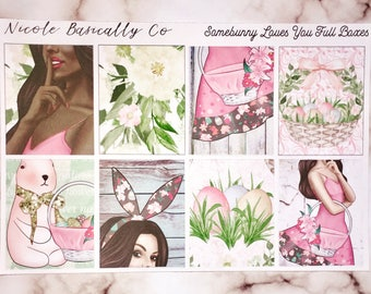 Somebunny Loves You full Easter kit for use with Wrin Condren vertical planner and other planners