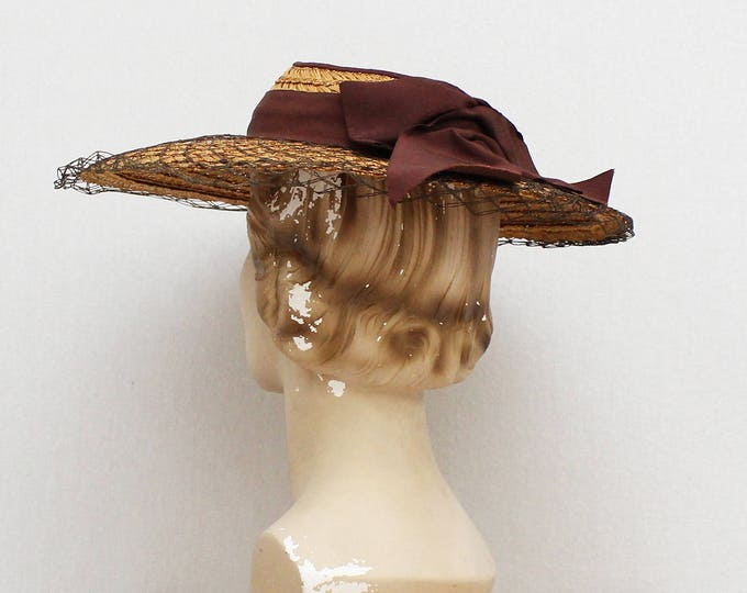 Vintage 1930s Netted Straw Bow Hat