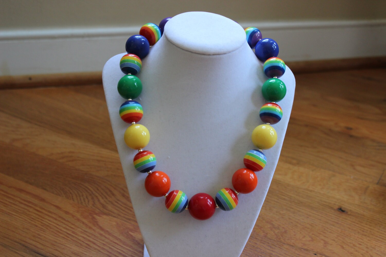 Rainbow bubblegum bead necklace. Birthday Girls chunky bead
