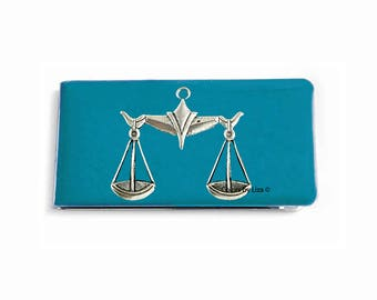 Libra Scales Money Clip in Turquoise inlaid in Hand Painted Enamel Zodiac Inspired with Personalized and Assorted Color Options