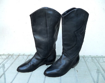 SALE Vintage Leather Boots / Dingo Brazilian Leather Boots 6M