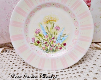 Springtime Plate, Hand Painted Cottage Wildflowers, Blush Pink Accents, Decorative Plate, Display, Collectible, ESC