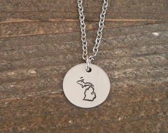 MICHIGAN hand stamped necklace