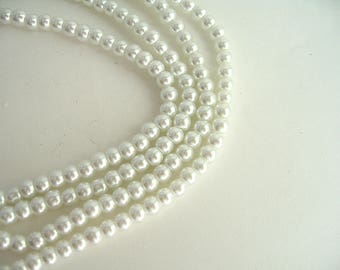 120 imitation Pearl 4mm White Pearl glass beads