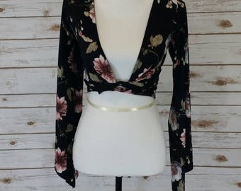 long sleeve Floral boho front tie crop top
