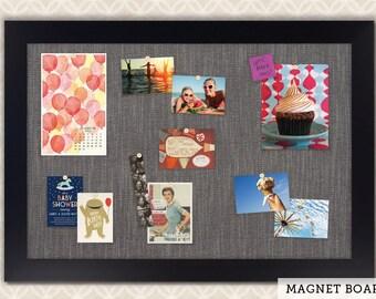 Magnetic Bulletin Boards   Framed Magnet Boards   Magnet Board   Decorative Magnet Boards - Black Satin Frame + Pewter Fabric