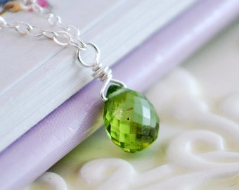 Genuine Peridot Necklace, Child Children Girl, Real Gemstone, Lime Green, Sterling Silver Jewelry, August Birthstone