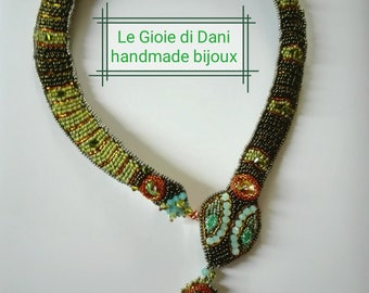 "Bead embroidery necklace ""Cleopatra necklace"""