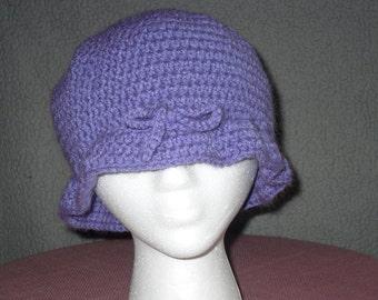 crocheted purple winter hat