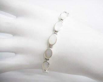 "Pearl Bracelet, Mother Of Pearl, Sterling Bracelet, Vintage Bracelet, Sterling Silver Oval Mother Of Pearl Link Bracelet 7.75"" #2678"
