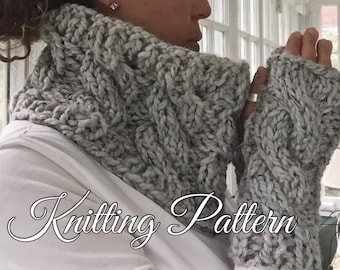 KNITTING PATTERN - Cowl and Fingerless glove set - Sienna - Sized for Adults