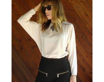 Silk Bow Tie Dolman Sleeve Blouse - Vintage 80s - S
