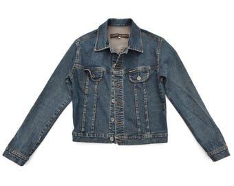 Vintage Dark Denim Jean Jacket 90s Slim Fit Jean Jacket DKNY Denim Jacket Womens Vintage Denim Jacket XS / S