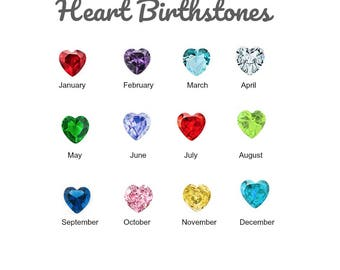 Birthstone Floating Charm for Glass Locket, 5MM LARGE HEART CRYSTAL Charms for Memory Locket, Personalized Floating Locket Pendant Charm.