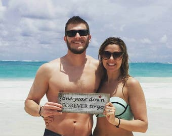 One Year Down FOREVER To Go Wooden Sign - 1st Anniversary Pictures are fun with this Photo Prop - Perfect Wedding Gift and Anniversary Gift!