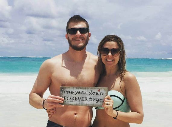 One year down forever to go wooden sign 1st anniversary