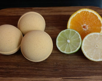 Citrus Blast Revitalizing Bath Bomb, Naturally Vegan, Infused With Organic Essential Oils