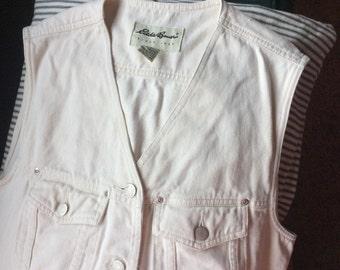 VINTAGE  CREAM VEST Eddie Bauer, cotton denim, western style, unisex, sleeveless top, white