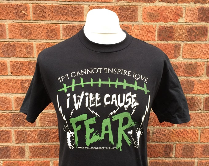 Frankenstein t shirt featuring Nameless City Apparel's favourite quote from Mary Shelley's classic gothic horror novel